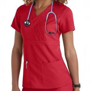 Grey's Anatomy 3 Pocket Mock Wrap Top Scarlet Red
